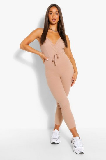 Stone Ribbed Strappy Wrap Front Tie Waist Jumpsuit