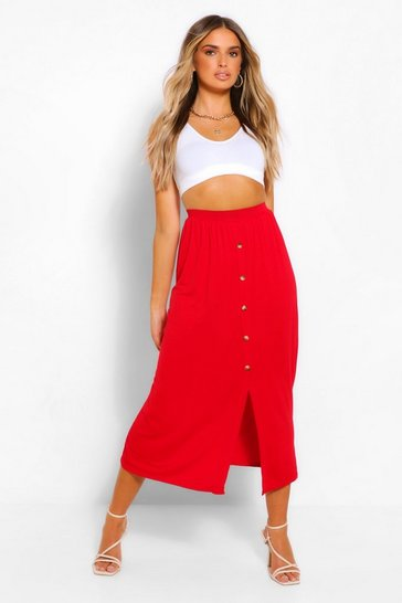 Red Button Front Jersey Midaxi Skirt