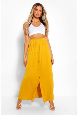 Chartreuse yellow Button Front Jersey Maxi Skirt