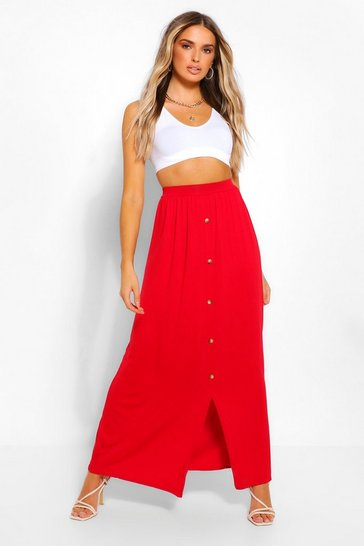Red Button Front Jersey Maxi Skirt