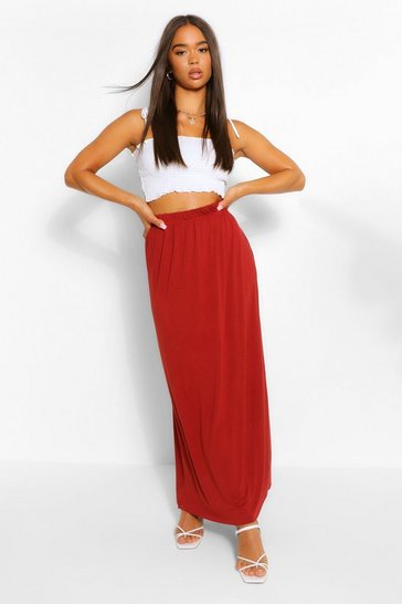 Terracotta Gathered Waist Floor Sweeping Maxi Skirt