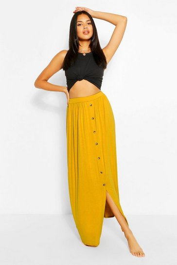Chartreuse Gathered Waist Floor Sweeping Maxi Skirt