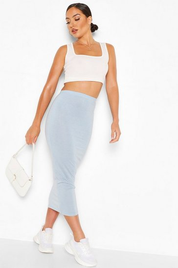 Grey Basic High Waist Midaxi Skirt