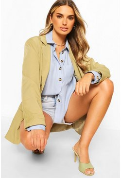 Blue Oversized Linen Look Shirt