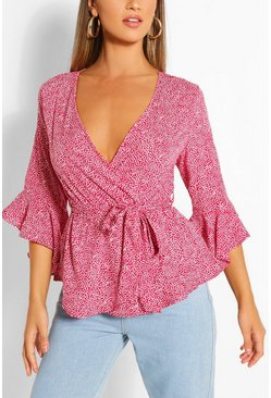Red Woven Ditsy Floral Wrap Blouse