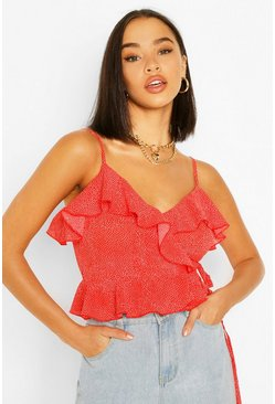 Red Woven Floral Wrap Camisole