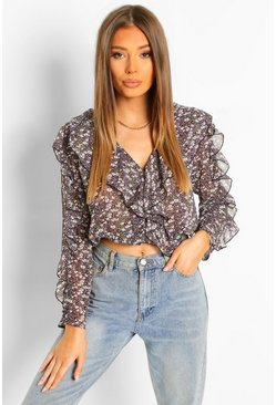 Black Geweven Bloemenprint Blouse Met Ruches