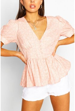 Pink Button Through Peplum Puff Sleeve Woven Top