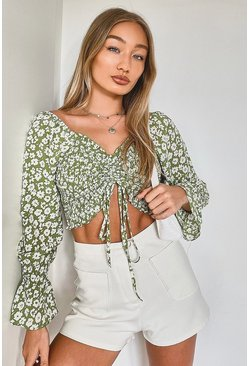 Green Ditsy Floral Shirred Woven Top