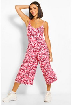 Red Floral Cami Culotte Jumpsuit