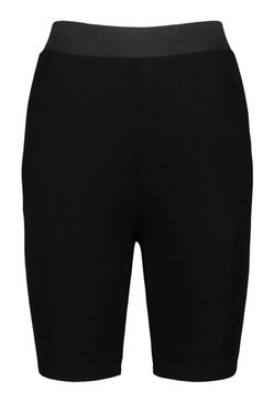 Black Elasticated High Waist Side Panel Cycling Short