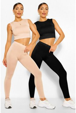 Blush pink 2 Pack Sleeveless Crop Top & Legging Co-ord