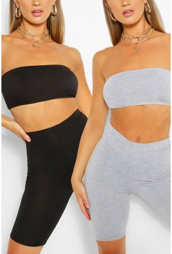 Multi 2 Pack Basic Bandeau & Biker Short Two-Piece Set
