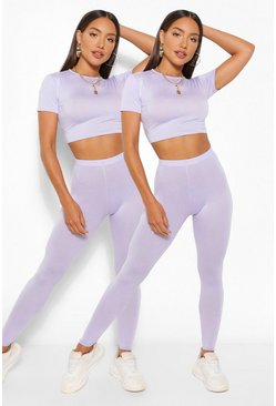 Lilac purple 2 Pack Crop Top and Legging Co-ord Set