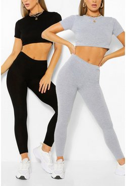 Multi 2 Pack Crop Top and Legging Co-ord Set