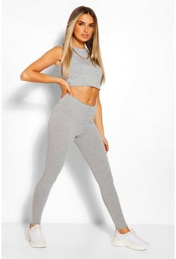 Grey marl grey Sleeveless Crop Top and Legging Co-ord Set