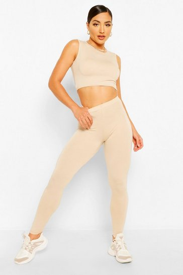 Stone beige Sleeveless Crop Top and Legging Co-ord Set
