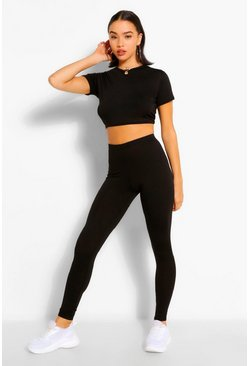 Black Basic Cap Sleeve Top and Leggings Co-ord Set