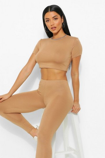 Caramel beige Basic Cap Sleeve Top and Leggings Co-ord Set