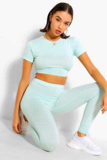 Mint green Basic Cap Sleeve Top and Leggings Co-ord Set