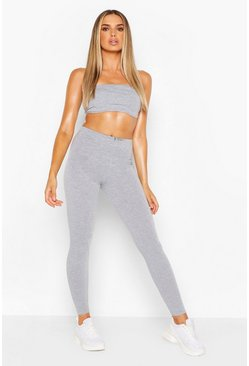 Grey marl grey Basic Bandeau & High Waist Legging Two-Piece