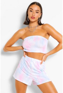 Blue Pastel Tie Dye Basic Bandeau & Runner Shorts Co-ord