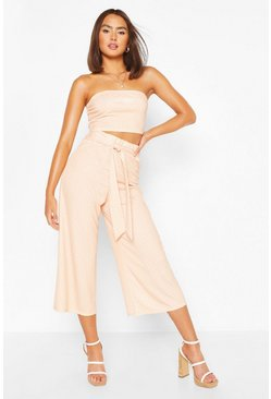 Apricot nude Polka Dot Bandeau Top & Culotte Co-ord Set