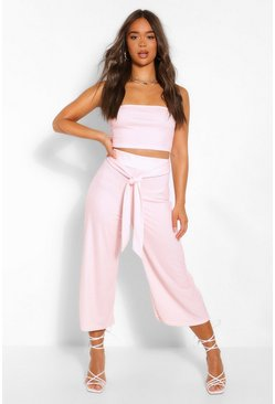 Rose pink Polka Dot Tube Top & Culotte Two-Piece Set