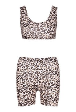 Stone Leopard Print Crop Top & Cycling Short Co-ord