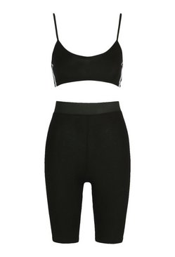 Black Side Stripe Bralet & Cycling Shorts Co-ord