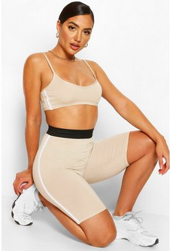 Stone beige Side Stripe Bralet & Cycling Shorts Co-ord