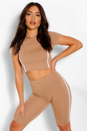 Camel beige Side Stripe Crop Top & Cycling Short Co-ord Set