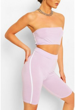 Lilac Side Stripe Bandeau & Cycling Short Co-ord Set