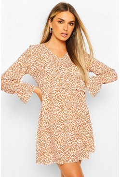 Brown Leopard Print Ruffle Waist Oversized Smock Dress