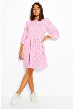 Pink Floral Print Frill Sleeve Smock Dress
