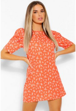 Red Floral Print Puff Sleeve Shift Dress