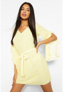 Yellow Ditsy Floral Print V Neck Wide Sleeve Shift Dress
