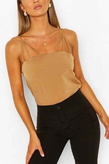 Beige Harness Detail Strappy Cami Top
