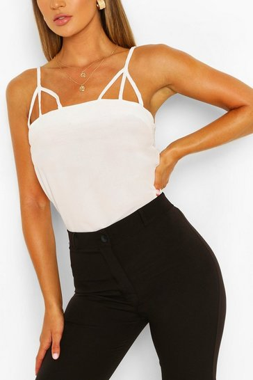 White Harness Detail Strappy Cami Top