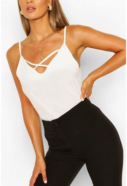 White Cross Detail Woven Cami