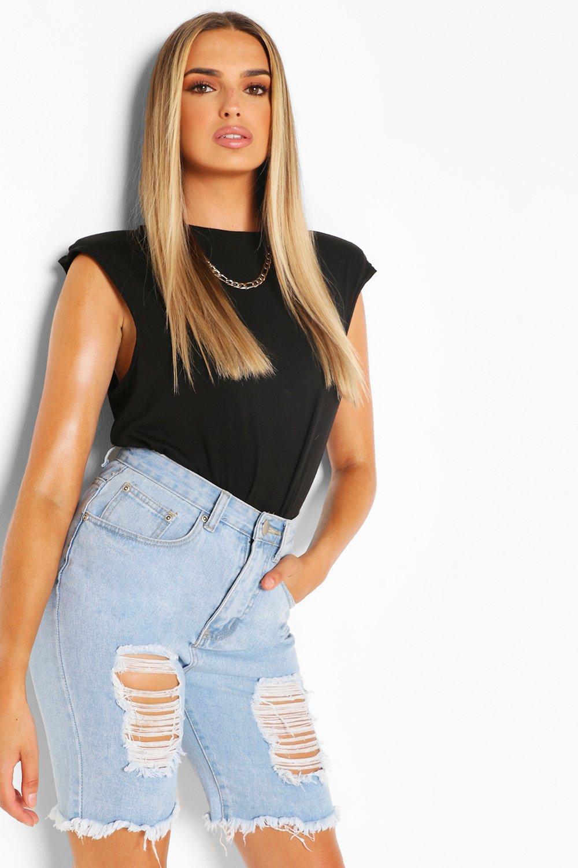 TOPS Black Sleeveless Shoulder Pad T Shirt