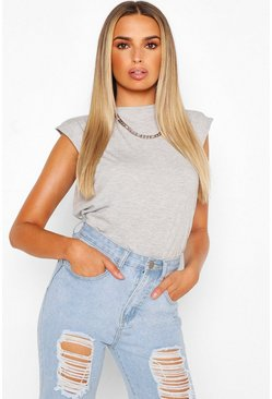 Grey Sleeveless Shoulder Pad T Shirt