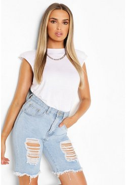 White Sleeveless Shoulder Pad T Shirt