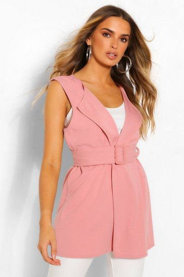 Rose Self Fabric Buckle Sleeveless Duster