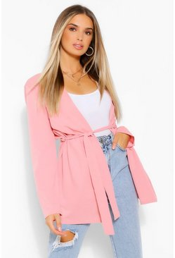 Blush pink Ruched Waist Duster Jacket