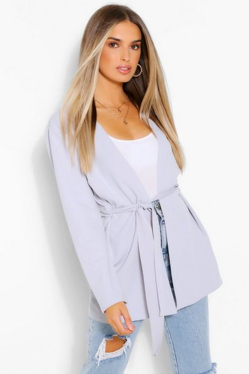 Ice Ruched Waist Duster Jacket