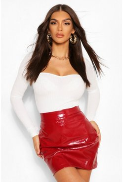 Berry red Vinyl A Line Skirt