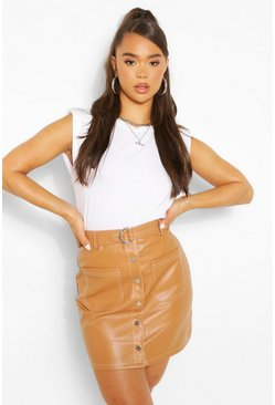 Tan brown Leather Look Contrast Stitch Mini Skirt