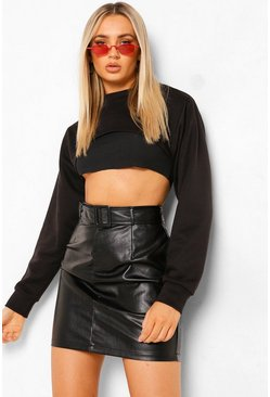 Black Leather Look Belted Skirt