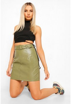 Khaki Leather Look Belted Skirt